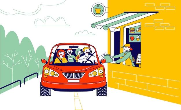 Wygodna płatność z samochodu, system drive thru. postacie płacą za jedzenie na wynos za pomocą terminala pos karty kredytowej.