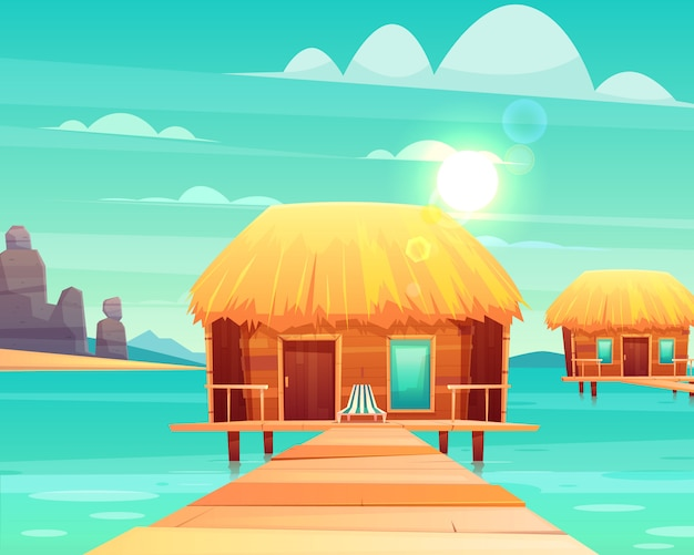 Wygodne drewniane bungalowy z dachem krytym strzechą na molo w słonecznej tropikalnej nadmorskiej kreskówki ilustracji wektorowych.