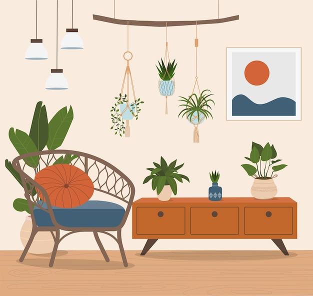 Wygodne krzesło rattanowe i rośliny doniczkowe. ilustracja wektorowa płaski