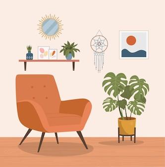 Wygodne krzesło, śpiący kot i rośliny domowe.