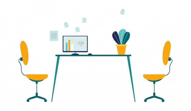 Wygodne miejsce pracy w nowoczesnym biurze cartoon. dwa krzesła do zadań