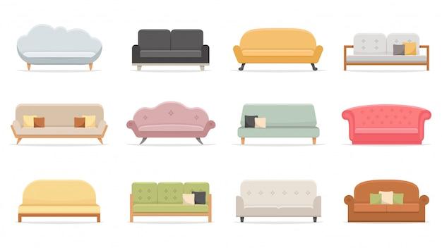 Wygodne sofy. luksusowa kanapa do mieszkania, komfortowe modele sof i nowoczesny zestaw ilustracji domowych sof