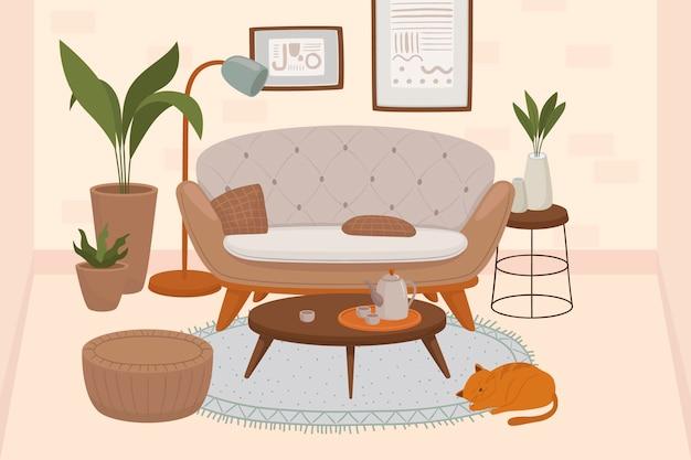 Wygodne wnętrze salonu z kotami siedzącymi na fotelu i otomanie oraz roślinami doniczkowymi rosnącymi w doniczkach