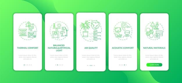 Wygodny domowy zielony ekran aplikacji mobilnej z koncepcjami