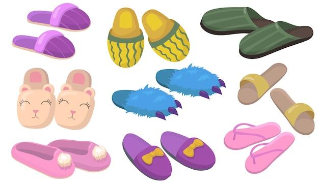 Wygodny komplet obuwia domowego. śpioszki z futrem, kokardkami, pazurami dla dzieci i dorosłych na białym tle. ilustracja wektorowa do pokoju hotelowego lub przytulnej koncepcji domu