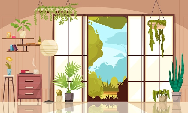 Wygodny nowoczesny salon ozdobiony krytymi zielonymi roślinami liściastymi w doniczkach i donicach w kolorowej płaskiej ilustracji