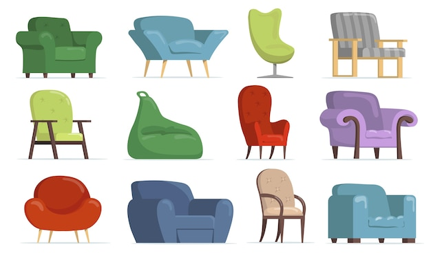 Wygodny płaski zestaw foteli do projektowania stron internetowych. kreskówka klasyczne i nowoczesne krzesła, miękkie pufy na białym tle kolekcja ilustracji wektorowych. koncepcja wnętrza mebli i mieszkania