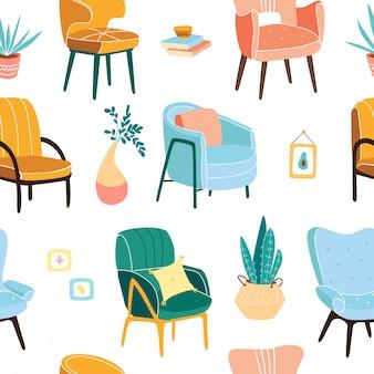Wygodny wzór fotela. stylowy wzór mebli. modny skandynawski druk bez szwu z elementami mebli. ilustracja urządzony do druku wystrój.