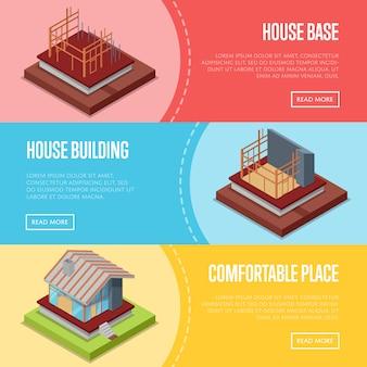 Wygodny zestaw banner web budynku domu
