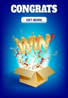 Wygraj baner prezentowy ze złotymi balonami i spadającym konfetti