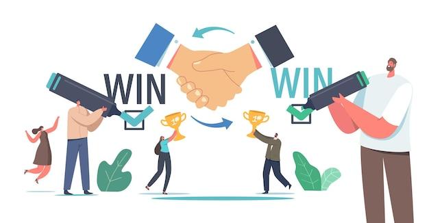 Wygraj koncepcję rozwiązania strategii wygrywania. partnerzy biznesowi znaki umowa, partnerstwo, umowa. przedsiębiorców z złote puchary udane negocjacje, korzyści winwin. ilustracja wektorowa kreskówka ludzie