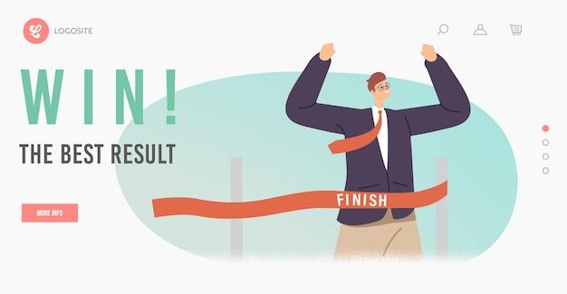 Wygraj szablon strony docelowej z najlepszymi wynikami. wesoły człowiek biznesu przekraczania linii mety skoku przez przeszkody tor wyścigowy pokaż gest zwycięzcy. sukces zawodowy, konkurs liderów. ilustracja kreskówka wektor