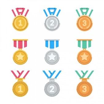 Wygraj zestaw medali. kolorowe, płaskie medale z nagrodami. 1., 2., 3. miejsce. 3d medale z nagrodami. ilustracja.