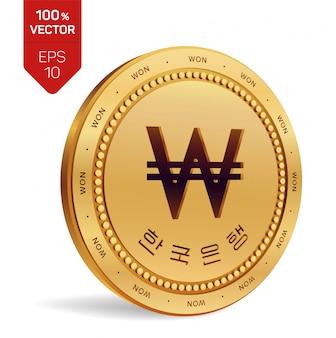 Wygrała. korea południowa wygrana moneta z tekstem w koreańskim banku korei na białym tle.