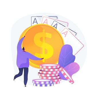 Wygrane z hazardu, szczęście i szansa, nagroda główna. kasyno, poker, wygrana w grze karcianej. zwycięzca pieniędzy, hazardzista, postać z kreskówki gracza w karty. ilustracja wektorowa na białym tle koncepcja metafora.