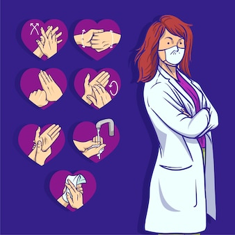 Wyjaśnienie od kobiety doktora na temat znaczenia mycia rąk