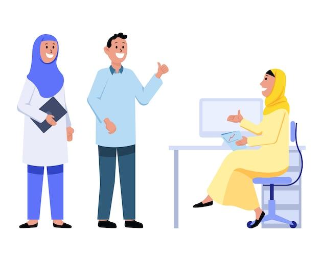 Wyjaśnione problemy przez girl muslim office pracownik