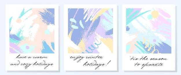 Wyjątkowe artystyczne kartki świąteczne z ręcznie rysowanymi kształtami i teksturami w delikatnych pastelowych kolorach. modny projekt z pozdrowieniami idealny do wydruków, ulotek, banerów, zaproszeń, ofert specjalnych i nie tylko. kolaże wektorowe.