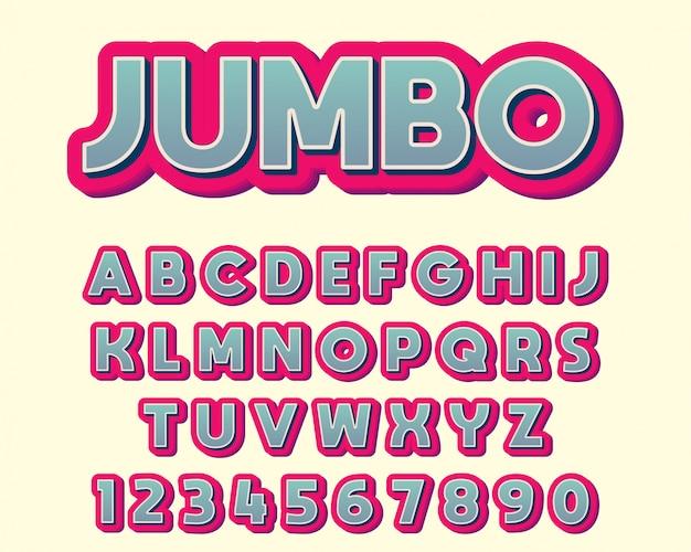Wyjątkowo pogrubiona kolorowa czcionka typografii