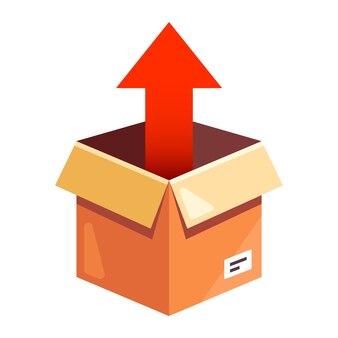 Wyjmij paczkę z kartonu. płaska ilustracja na białym tle