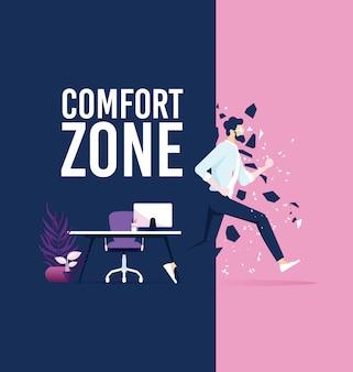 Wyjście biznesmena ze strefy komfortu