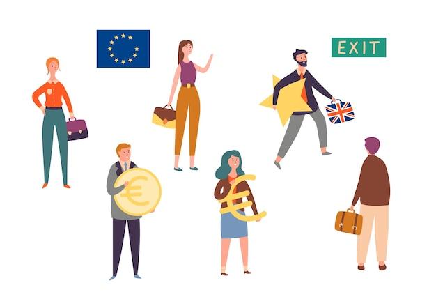Wyjście wielkiej brytanii z unii europejskiej, zestaw znaków brexit concept. man leave eu z gwiazdą. brytyjska reforma polityki krajowej w celu powstrzymania kryzysu gospodarczego. ludzie trzymają znak waluty płaski kreskówka wektor ilustracja
