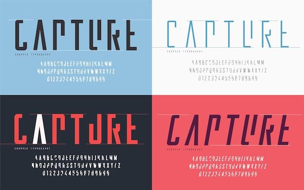 Wykadrowana typografia, zestaw wielkich liter i cyfr, alfabet. ilustracja wektorowa.