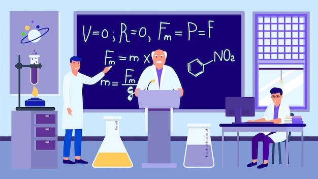 Wykład naukowy w laboratorium, profesor uczy studentów, ilustracja.