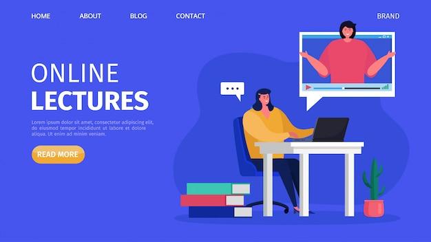Wykłady szkoleniowe online, ilustracja. edukacja biznesowa w internecie, nauka na webinarium i samouczek. ludzie studenci