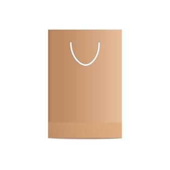 Wykonaj pustą torbę i opakowanie z brązowego papieru na zakupy i prezenty z białą rączką