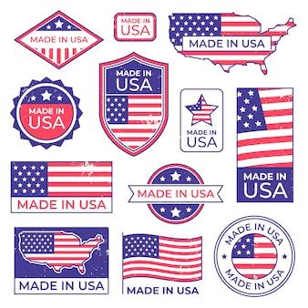 Wykonane w logo usa. amerykański dumny znaczek patriotyczny, produkujący znaczek z etykietą usa i zestaw flag patriotycznych stanów zjednoczonych
