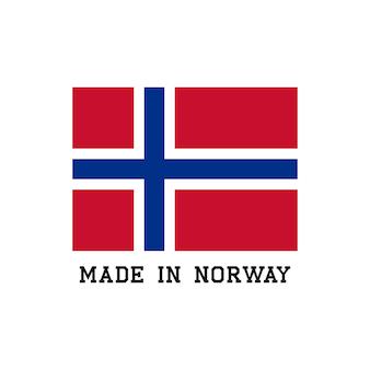 Wykonane w norwegii ikona z flagą. logo wektor etykiety do projektowania opakowań.