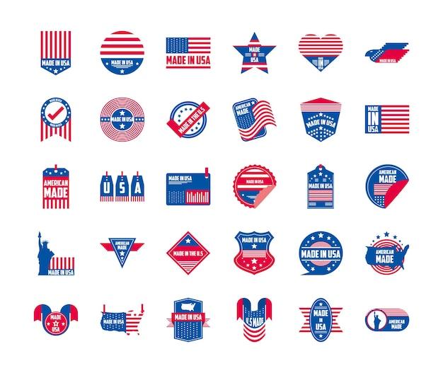 Wykonane w usa banery i etykiety projekt grupy ikon, amerykańska jakość biznesu i motyw narodowy