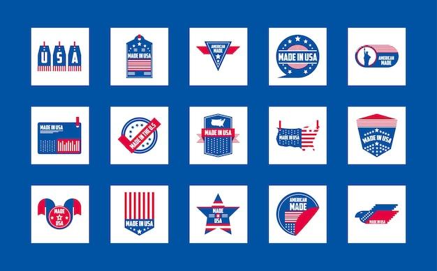 Wykonane w usa projekty kolekcji ikon banerów i etykiet, amerykańska jakość biznesowa i motyw narodowy