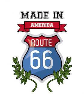Wykonane w usa route 66 znak i liści wektor ilustracja projekt graficzny