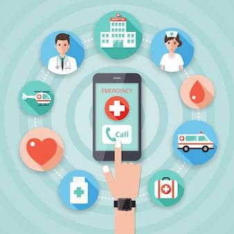 Wykonywanie połączenia alarmowego z lekarzami.