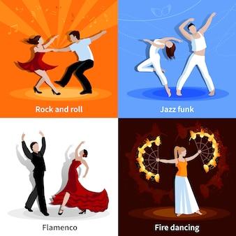 Wykonywanie różnych stylów tańczących ludzi płaski zestaw ilustracji wektorowych na białym tle