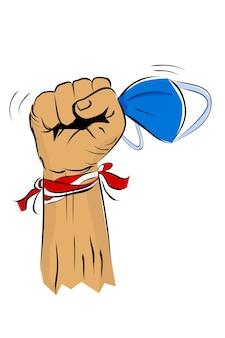 Wykrawanie lub pięść ręka trzymaj maskę chirurgiczną na obchody dnia niepodległości w indonezji!