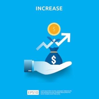 Wykres biznesowy pod ręką. wzrost stawki wynagrodzenia. przychody z marży wzrostu graficznego. finansowanie wydajności zwrotu z inwestycji roi z elementem strzałki. płaski styl