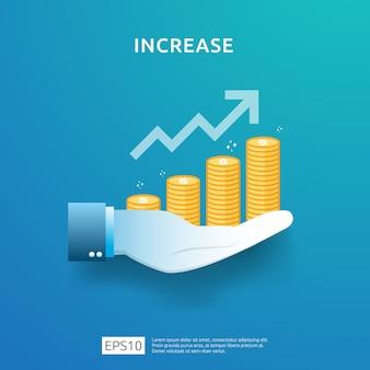 Wykres biznesowy pod ręką. wzrost stawki wynagrodzenia. przychody z marży wzrostu graficznego.