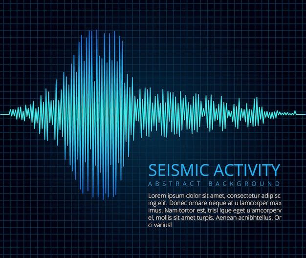 Wykres fali częstotliwości trzęsienia ziemi, aktywność sejsmiczna.