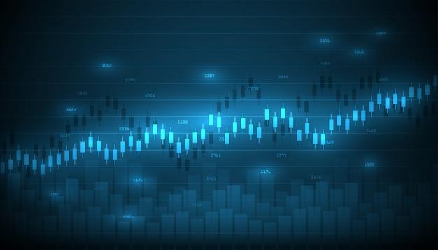 Wykres giełdowy handel inwestycjami rynkowymi z mapą świata. platforma handlowa. wykres biznesowy.