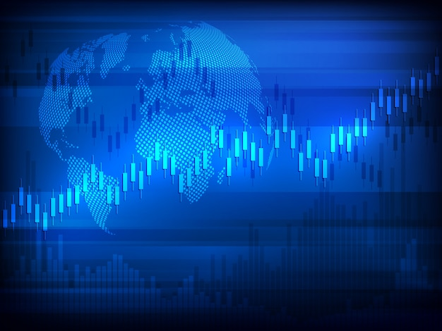 Wykres giełdowy handel inwestycjami rynkowymi z mapą świata platforma handlowa. wykres biznesowy.