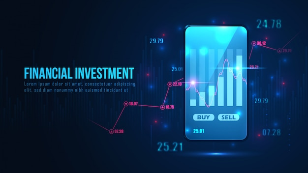 Wykres giełdowy lub forex online na koncepcji smartfona