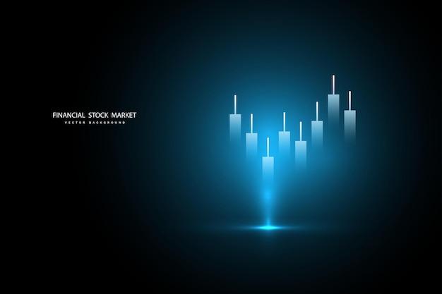 Wykres giełdowy lub wykres handlu forex dla koncepcji biznesowych i finansowych, raportów i inwestycji na ciemnym tle. ilustracja wektorowa