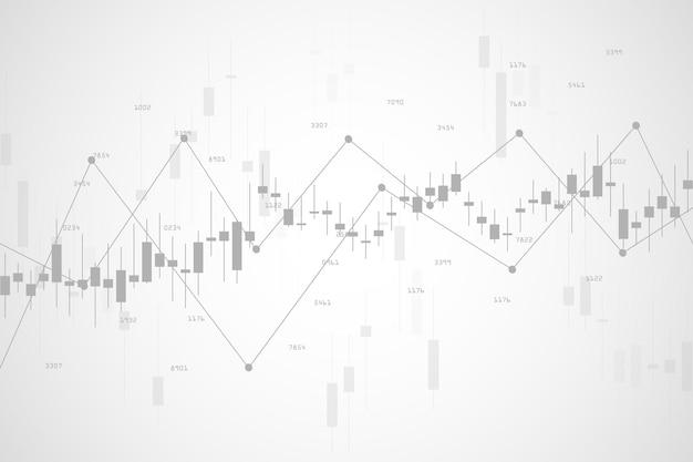 Wykres giełdowy lub wykres handlu forex dla koncepcji biznesowych i finansowych, raportów i inwestycji na szarym tle. ilustracja wektorowa