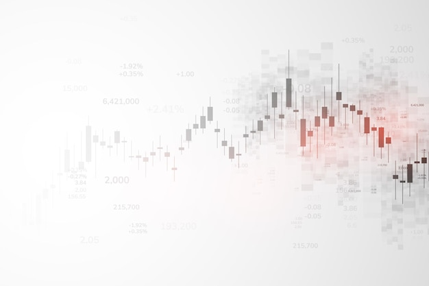 Wykres giełdowy lub wykres handlu forex dla koncepcji biznesowych i finansowych, raportów i inwestycji na szarym tle. świece japońskie. ilustracja wektorowa