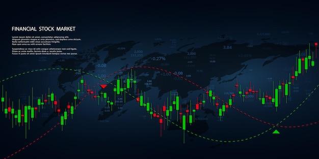 Wykres giełdowy lub wykres handlu forex dla koncepcji biznesowych i finansowych, raportów i inwestycji. świece japońskie. streszczenie tło wektor