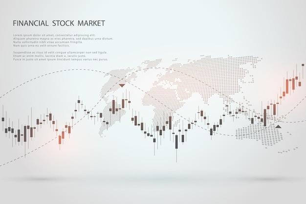 Wykres giełdowy lub wykres handlu forex dla koncepcji biznesowych i finansowych tło wektor