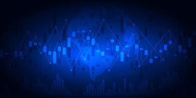 Wykres giełdowy lub wykres handlu forex dla koncepcji biznesowych i finansowych